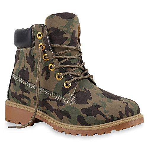 Stiefelparadies Warm Gefütterte Damen Stiefeletten Worker Boots Kunstfell Flandell Camouflage Braun
