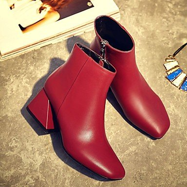 Gll 1in Bootie Pink Casual Fall Bootie Blushing Leather Heel amp;xuezi 4in red Chunky Women's Ruby Black Boots 1 3 rYXW60Rqr