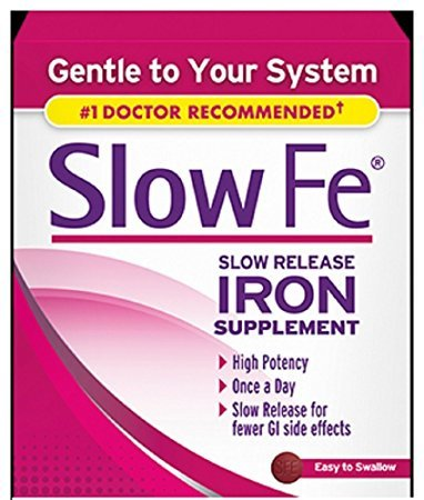 Slow Fe, High Potency Iron 45 mg, Slow Release - 60 Tablets - Pack of 4 by Slow Fe