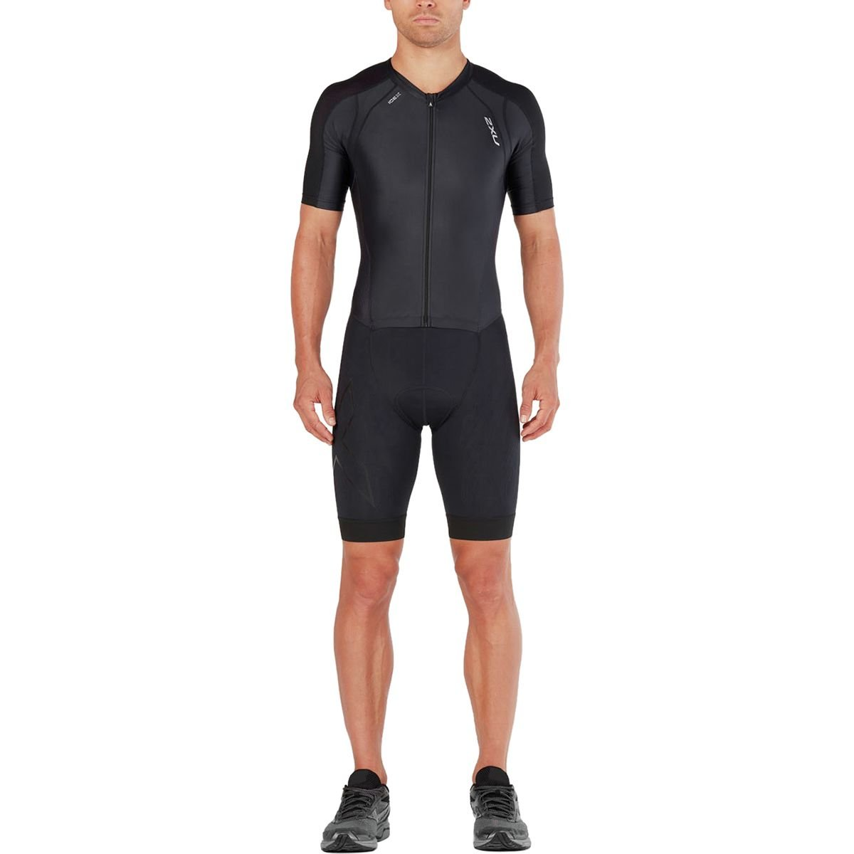 2 x UメンズComp Full Zip Sleeved Trisuit B079FFK89N Large|ブラック/ブラック ブラック/ブラック Large