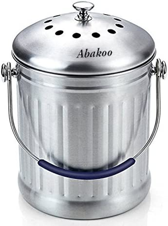 Abakoo Compost Bin 1.8 Gallon Stainless Steel 304 Stainless Steel Kitchen Composter – 2 Charcoal Filter, Indoor Countertop Kitchen Recycling Bin Pail
