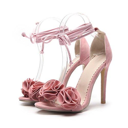 la mujer gamuza con SHINIK correa tacón de Zapatos de Zapatos de Color de Rosado Sandalias tamaño finas flores Zapatos 34 alto Damas OEEwqxarz