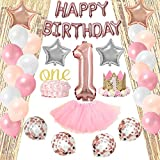 1st Birthday Decorations for Girl Pink White Silver Gold Theme | Tiara Hat One' Cake Topper +...