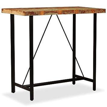 Table De Cuisine Industrielle.Festnight Table De Bar En Bois Massif Table De Salle A Manger Table Haute Cuisine Style Industriel 120 X 60 X 107 Cm