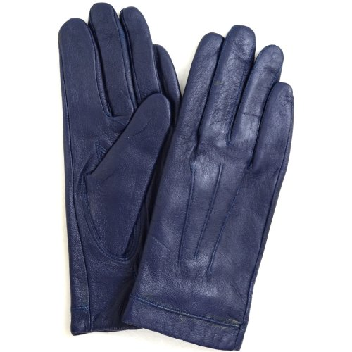 Ladies Classic 3 Point Stitch Butter Soft Leather Glove with Warm Fleece Lining, Blue - 7