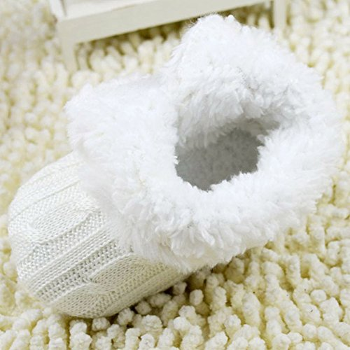 Weixinbuy Baby Girls Knit Soft Fur Winter Snow Boots Crib Shoes White 12-18M