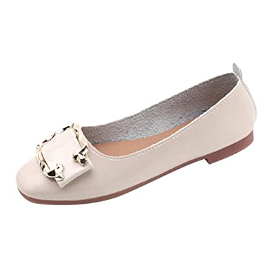Chaussures Soldes Ballerines à Boucle Femme,Overdose Automne Hiver  Chaussures Plates en Cuir Ballet Casual f5504a1b165d