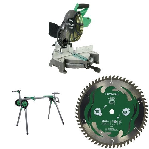 Hitachi C10FCE2 10 inch Miter Saw with Stand and Blade
