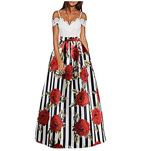 C-US Women African Rose Floral Maxi Skirt High Waist Pleated Beach Skirts with Pockets