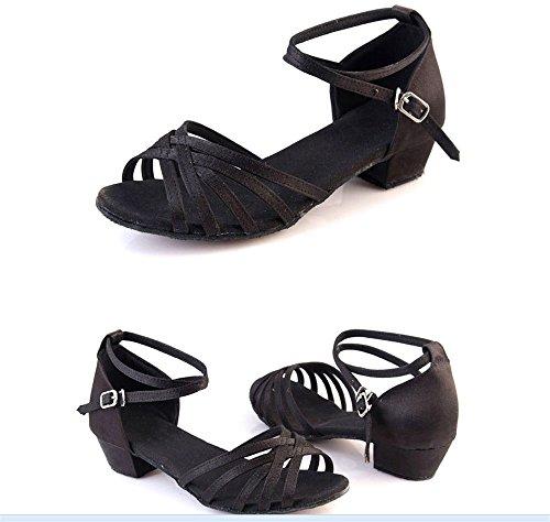 amp; Pratiquer Des Mou Femme Chaussures Noir Satin Taille Color Latine 26 Fond Gold Enfants À Étudiantes De Danse Tmkoo Pour dgqf4pAnOd
