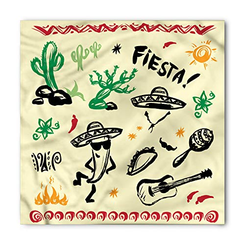 Fiesta Bandana - Ambesonne Unisex Bandana, Mexican Taco Fiesta Guitar, Black Yellow