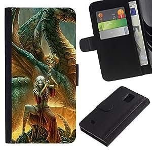 LASTONE PHONE CASE / Lujo Billetera de Cuero Caso del tirón Titular de la tarjeta Flip Carcasa Funda para Samsung Galaxy Note 4 SM-N910 / Fairytale Sword Character Magic