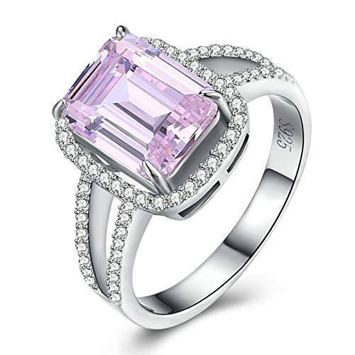 Aokarry S925 Silver Women Engagement Promise Band Ring Pink Square CZ Crystal Mother's Day 3MM Size 7