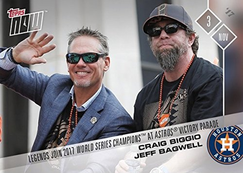 2017 Topps Now #OS-8 Craig Biggio and Jeff Bagwell Celebrate Houston Astros World Series Championship at Victory Parade Baseball Card - Only 401 made!