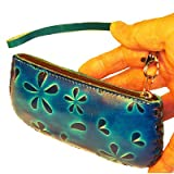 Genuine Leather Credit/Id Cards Holder,coin/change Purse,5.5 Inches Long, 2.5 Inches Wide,wrist Strap,different Color and Pattern (Blue-A), Bags Central