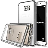 Ringke [FUSION] Galaxy Note 5 Case Crystal Clear PC Back TPU Bumper w/ Screen Protector [Drop Protection/Shock Absorption Technology][Attached Dust Cap] For Samsung Galaxy Note 5 - Smoke Black