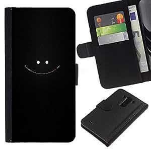 KLONGSHOP // Tirón de la caja Cartera de cuero con ranuras para tarjetas - Cara sonriente - LG G3 //