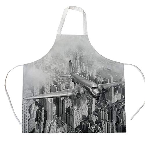 iPrint Cotton Linen Apron,Two Side Pocket,Vintage,Nostalgic Dated Plane Flying Over Skyscrapers in New York City Urban Life,Black and White,for Cooking Baking Gardening (Best Black And White Cookies In New York City)