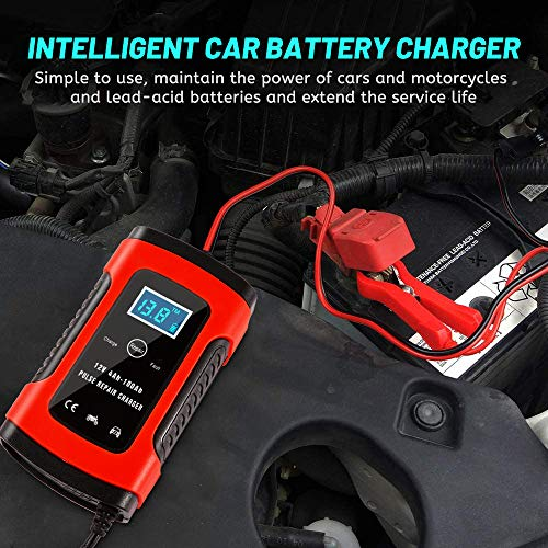Nanssigy Car Battery Charger, 12V 5A Fully Automatic Battery Charger with LCD Screen,Portable Fast Charge Smart Battery…
