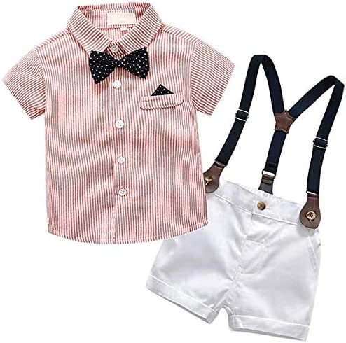 SANGTREE Baby Boys Clothes Dress ShirtBowtie + Suspender Shorts