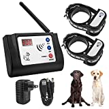 Beinhome Wireless Electric Dog Fence System Electronic Outdoor Wireless Fence for 2 Dogs Rechargeable Receiver Collars