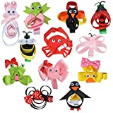 LCLHB 12 Pack Mini Animal Assorted Ribbon Hair Bow for Little Girls Toddler Kids