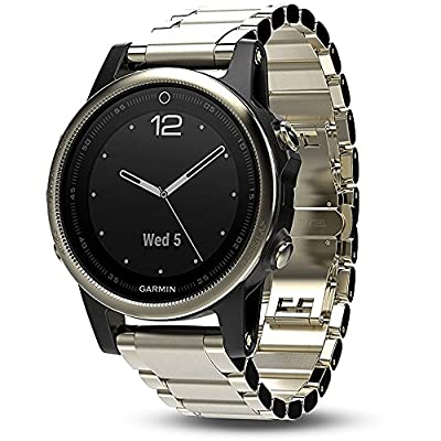 Garmin Fenix 5S Sapphire Multisport 42mm GPS Watch - Champagne with Metal Band (010-01685-14) + 1 Year Extended Warranty + Silicon Wrist Band - Yellow + Universal USB Travel Wall Charger