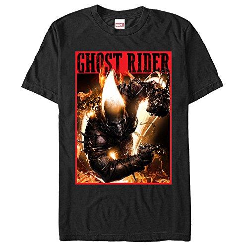 Rider Ghost - Marvel Men's Ghost Rider Fury Black T-Shirt
