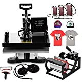 Mophorn Heat Press 15 X 15 Inch 8 in 1 Desktop Iron Baseball Hat Press Multifunction Sublimation Heat Press Machine Digital Swing Away Design (8 in 1 15 by 15 Inch)