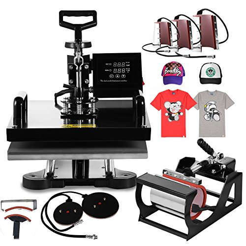 Mophorn Heat Press 15 X 15 Inch 8 in 1 Desktop Iron Baseball Hat Press Multifunction Sublimation Heat Press Machine Digital Swing Away Design (8 in 1 15 by 15 Inch) by Mophorn