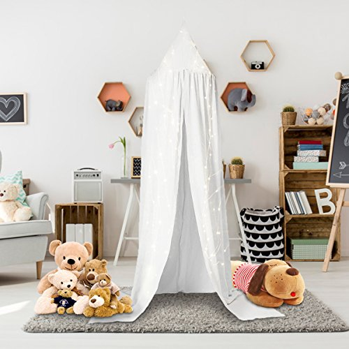 Jeteven Cotton Canvas Dome Bed Canopy Kids Play Tent Mosquito Net for Baby Kids Indoor Outdoor Playing Reading Height 240cm/94.5in White