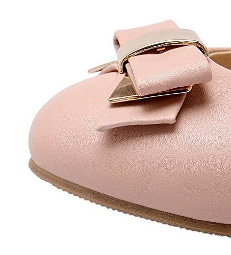 Allhqfashion Womens Pull-on Gattino-tacco Morbido Materiale Solido Tondo Scarpe A Punta Chiusa-scarpe Rosa