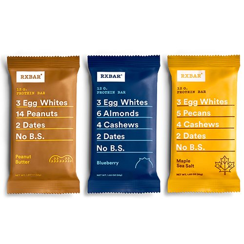 RXBAR Whole Food Protein Bar, 3 Flavor Variety Pack (8 Bars)