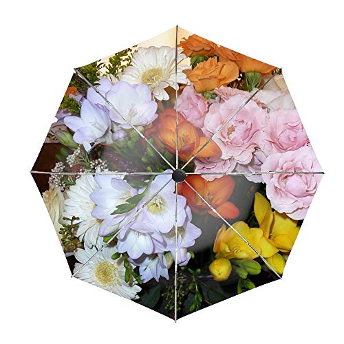 Travel Umbrella Compact Automatic Open Close Folding Roses Freesia Gerbera Flowers Bouquet Umbrellas fit Golf Purse Backpack Wind Resistant for Men and Women (Bouquet Freesia Wedding)