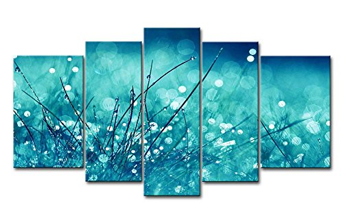 Used, Blue 5 Panel Wall Art Painting Grass Dew Plant Blue for sale  Delivered anywhere in Canada