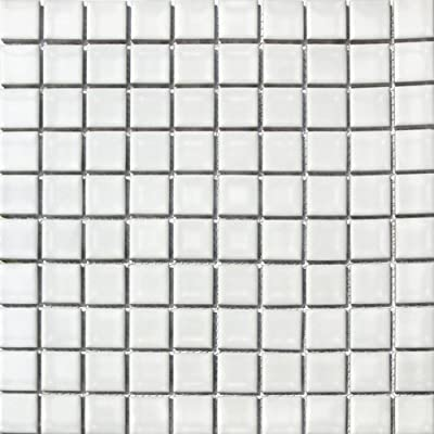 "Square Tile White Porcelain Mosaic Shiny Look 1-1/8"" X 1-1/8"""