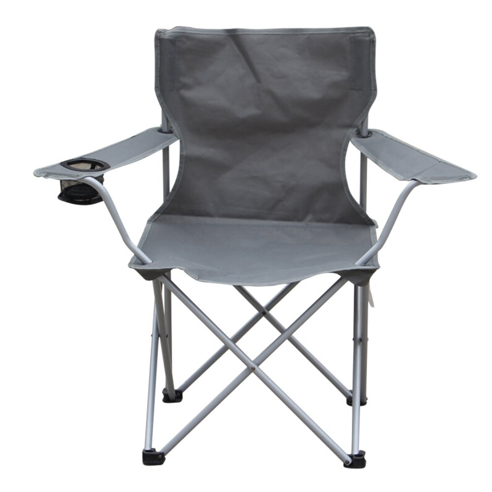 YAXIAO-Folding chair Outdoor Folding Chair Portable Leisure Beach Sketch Chair Mazar Fishing Chair Train Fishing Chair Gray