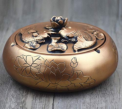 fumak Creative Ashtray Home Trend Multi-Function Retro Large with lid Ashtray Home Gift Ornaments (2)