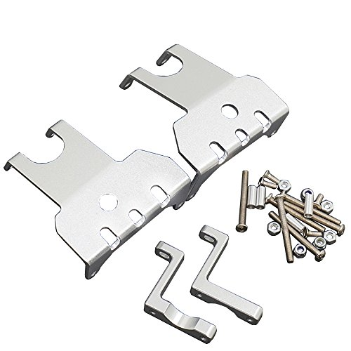 Aluminum Front & Rear Skid Plates for 1/10 Axial Wraith 90018 RC Truck Car Axle Silver