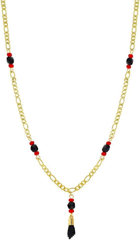 In Season Jewelry - Chapado en Oro 18k Azabache Simulado Collar de Mano de Figa para Protección contra el Mal de Ojo 53cm