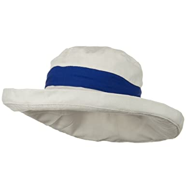 8a0d70bbc18 UPF 50+ Canvas Trimmed Crown Draw String Hat - Beige Blue at Amazon Women s  Clothing store  Sun Hats
