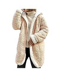 Forart Women's Hooded Cardigan Coat Casual Winter Warm Faux Fur Outwear
