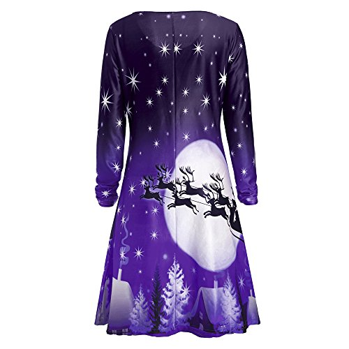Dress Sleeve Neck Christmas CharMma Long Round Tee Deer Print Purple Women's xp1SSwBqz