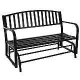 Sunnydaze Outdoor Garden Bench 50 Inch, Metal Glider Patio Seat, Black