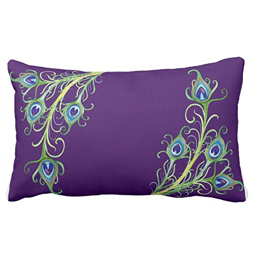 UOOPOO Art Deco Nouveau Style Peacock Feathers Swirl Lumbar Throw Pillow Case Square 12 x 20 Inches Soft Cotton Canvas Home Decorative Wedding Cushion Cover for Sofa and Bed One Side