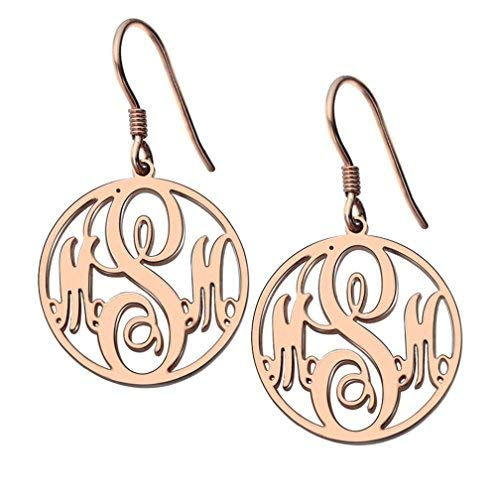 463e1c8e2 Amazon.com: Monogram Earrings Sterling Silver Women 14K Gold Custom Made  with 3 Initials Disc Drop Earrings Birthday Gift for Her (Golden): Jewelry
