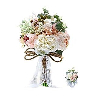 MOJUN Bride Bridal Bridesmaid Hold Flower Rose Peony Dahlia Artificial Flowers Wedding Bouquet, Bouquet and Writ Flowet Set 76