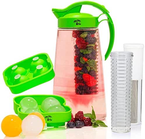 Fruit & Tea Infusion Water Pitcher - Free Ice Ball Maker - Free Infused Water Recipe eBook - Includes Shatterproof Jug, Fruit Infuser and Tea Infuser – Great for weight loss - The PERFECT Set