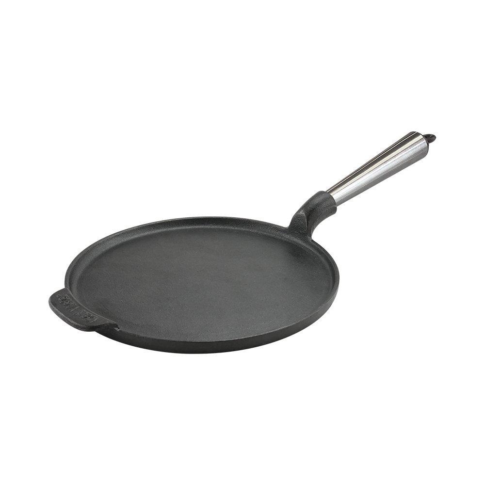 Carl Victor Cast Iron Crepe/Pancake Pan 23 cm Pre-Seasoned Stainless Steel Handle CV-P23S