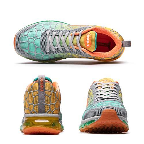 Baskets Multicolore Lacet Jogging Course Running Gym Homme Style Respirante Chaussures Sport Onemix Fitness Sneakers Air Gris Orange Uw7qBU5